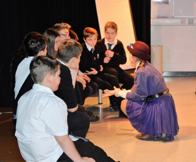 Katrina (GFT) with S1 pupils in Sanctuary workshop